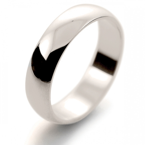 D Shape Light - 5mm (DSSL5 W) White Gold Wedding Ring