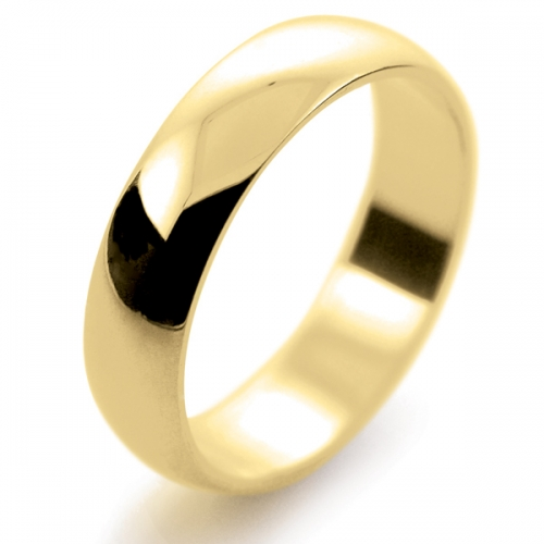 D Shape Light - 5mm (LD5-9Y) 9ct Yellow Gold Wedding Ring