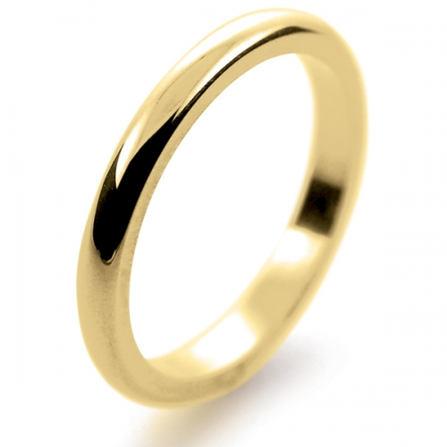 D Shaped Heavy -  2mm (DSI2.0-18Y) 18ct Yellow Gold Wedding Ring