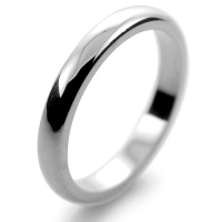 D Shaped Platinum 2.5mm Heavy Wedding Ring (Plat or Pall)