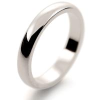 D Shape Medium -  3mm (HD3 W) White Gold Wedding Ring