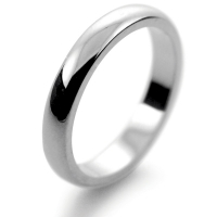 D Shaped Very Heavy - 3mm (DSM3) Platinum Wedding Ring