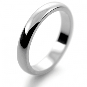D Shaped Platinum 3mm Heavy Wedding Ring (Plat or Pall)