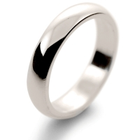 D Shape Medium -  4mm (HD4 W) White Gold Wedding Ring