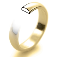 9ct Yellow Gold Wedding Ring D Shape Light Weight -  4mm