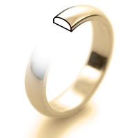 9ct Yellow Gold Wedding Ring D Shape Medium Weight - 6mm