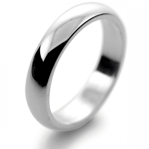 D Shaped Very Heavy - 4mm Platinum Wedding Ring (Plat or Pall)