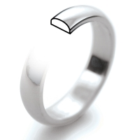 D Shaped Heavy  Weight - 3mm (PHD3) Platinum Wedding Ring