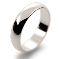 D Shape Medium - 5mm (HD5 W) White Gold Wedding Ring