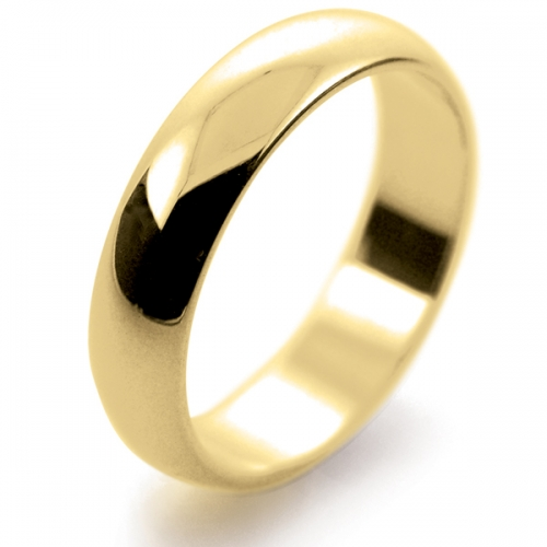 D Shape Medium - 5mm (HD5-Y) Yellow Gold Wedding Ring