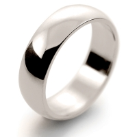 D Shape Medium - 6mm (HD6 W) White Gold Wedding Ring