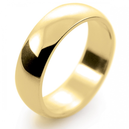 D Shape Medium - 6mm (DSM6-Y) Yellow Gold Wedding Ring