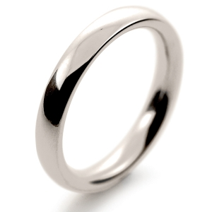 Court Very Heavy -  3mm (TCH3 W) White Gold Wedding Ring