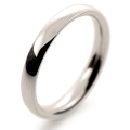 9ct White Gold Wedding Ring Court Band Medium Heavy Weight 2.5mm