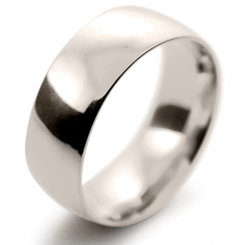 Court Medium -  8mm (TCM8 W) White Gold Wedding Ring