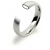 18ct White Gold Wedding Rings - Slight Court with Flat Edge
