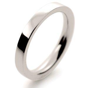 Flat Court Very Heavy -  2.5mm (FCH2.5 W) White Gold Wedding Ring