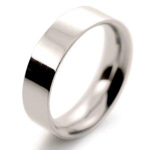 Flat Court Very Heavy -  6mm (FCH6 W) White Gold Wedding Ring
