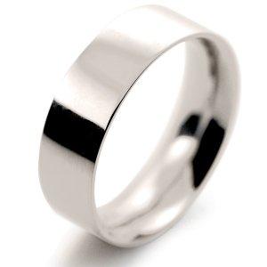 Flat Court Very Heavy -  7mm (FCH7 W) White Gold Wedding Ring