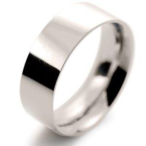 Flat Court Very Heavy -  8mm (FCH8 W) White Gold Wedding Ring