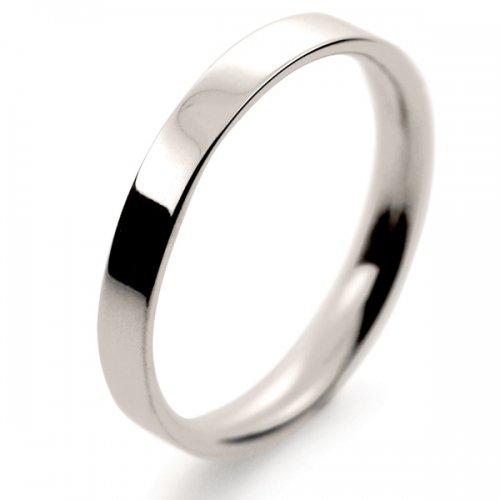 Flat Court Light -  2.5mm (FCSL2.5 W) White Gold Wedding Ring