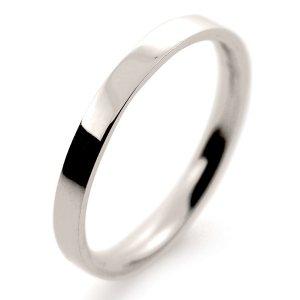 Flat Court Light -  2mm (FCSL2 W) White Gold Wedding Ring
