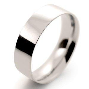Flat Court Light -  6mm (FCSL6 W) White Gold Wedding Ring