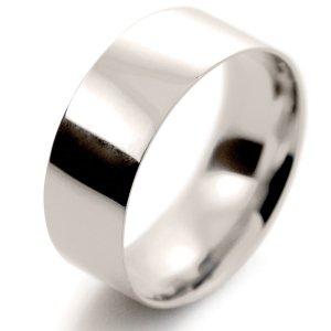 Flat Court Light -  8mm (FCSL8 W) White Gold Wedding Ring