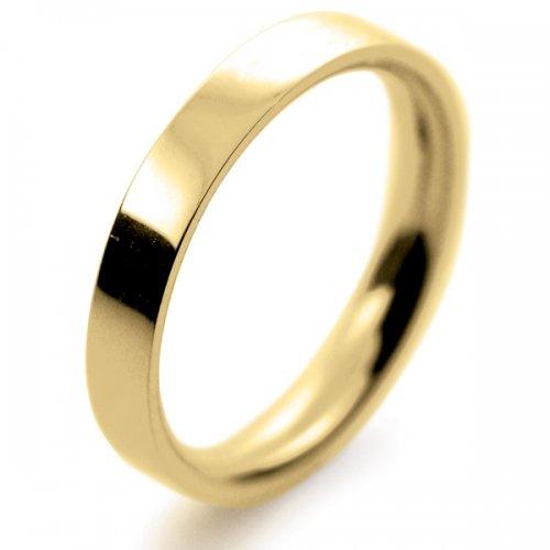 Flat Medium - 3mm (FS3Y-Y) Yellow Gold Wedding Ring with Millgrain Edge Size R- Special 1.5mm deep
