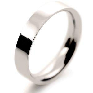Flat Court Medium - 4mm (FCSM4 W) White Gold Wedding Ring