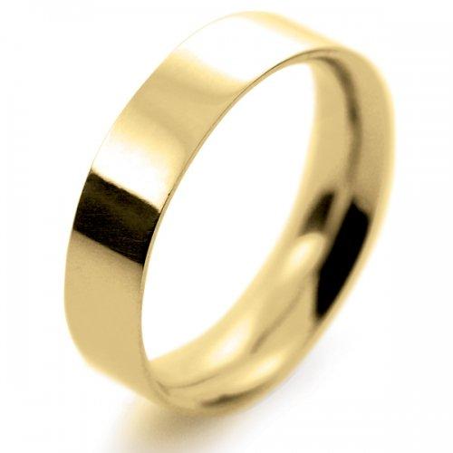 Flat Court Medium -  5mm (FCSM5Y) 18ct Yellow Gold Wedding Ring