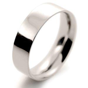 Flat Court Medium - 6mm (FCSM6 W) White Gold Wedding Ring