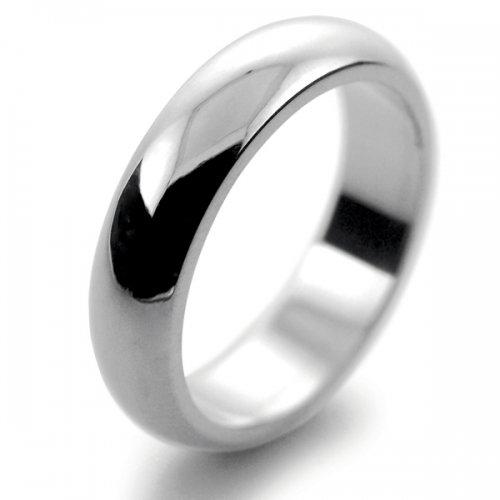 D Shaped Heavy Weight -  5mm (DSH5PAL) Palladium Wedding Ring