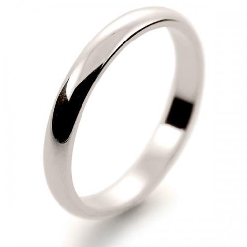 D Shape Medium -  2.5mm (DSL2.5 18W) 18ct White Gold Wedding Ring