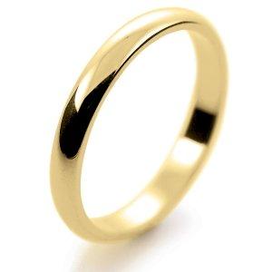 D Shape Light -  2.5mm (DSSL2-Y) Yellow Gold Wedding Ring