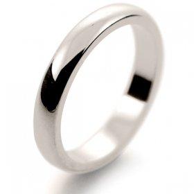 D Shape Medium -  3mm (HD3) 18ct White Gold Wedding Ring