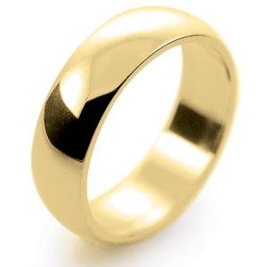 D Shape Medium - 6mm (HD6-Y) Yellow Gold Wedding Ring