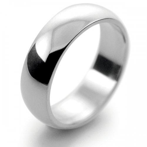 D Shape  Medium Weight -  6mm (DSM6PAL) Palladium Wedding Ring