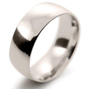 Court Medium -  8mm (TCM8 W) White Gold Wedding Ring