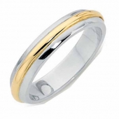 Platinum Court Wedding Ring Inlaid with Gold Width 5mm