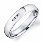 9ct White Gold Diamond Inlaid Wedding 4mm Band