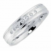 9ct White Gold Diamond Wedding Ring 4mm Wide