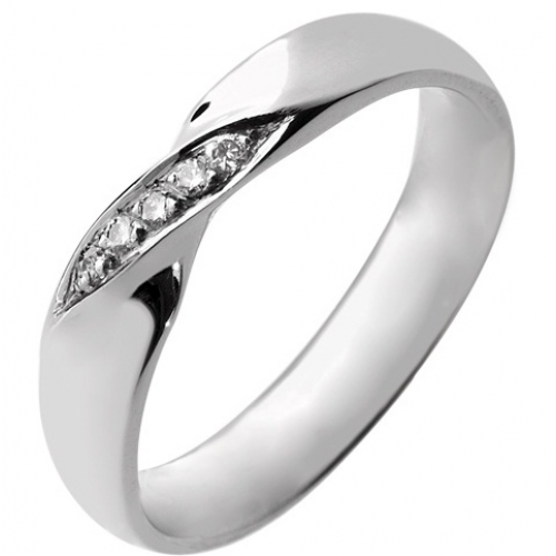 Shaped Wedding Ring 4mm (R925.DI5) - All Metals