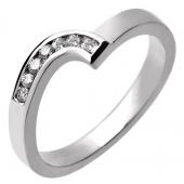 Platinum Designer Shaped Wedding Ring with Inlaid Diamonds 3mm