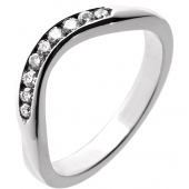 Palladium Diamond Wedding Rings - Shaped - Hallmark 950