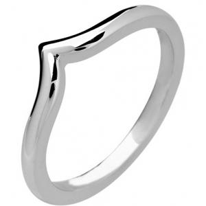 18ct White Gold Ladies Shaped Wedding Ring Width 2.5mm