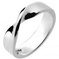 Shaped Wedding Ring 5mm Twist Design 9ct White Gold