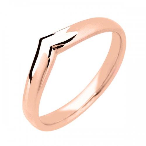 Shaped Wedding Ring (18R907) 18ct Rose Gold