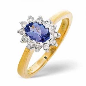 Diamond Rings  -  0.18ct Carat Diamond and Tanzanite Ring
