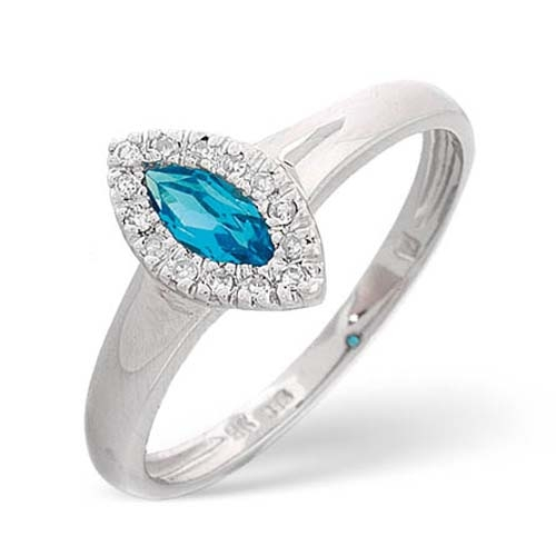 Diamond Rings - Diamond and Blue Topaz Ring